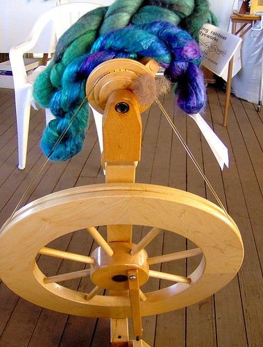 My Lendrum Spinning Wheel with New Fiber