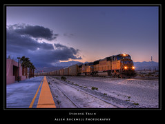 Evening Train (_Allen_) Tags: california railroad up train geotagged evening palmsprings unionpacific locomotive hdr highdynamicrange ge:tilt=0 ge:range=1000 geo:lat=33897759 geo:lon=116547786