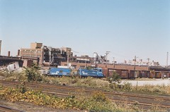 Conrail switching local. Chicago Illinois USA. October 1983.