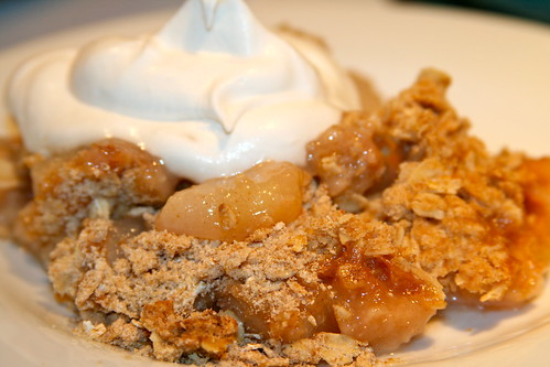 Pear Crisp with Spiked Cream