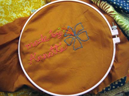 Most of the embroidering is done