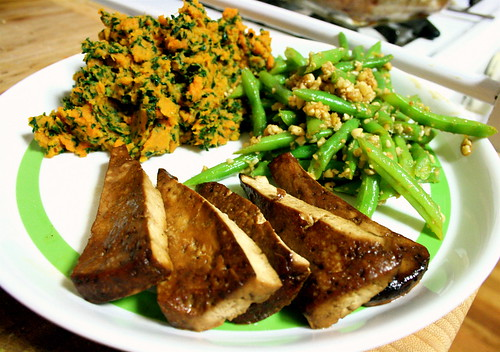 Kale Sweet Potatoes, Green Bean Salad, and Baked Tofu