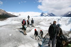 Group walking on ice