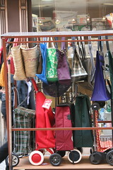 various bags for the market (cathou_cathare) Tags: paris france bag basket sac caddy panier caddie ruemontorgueil cabas