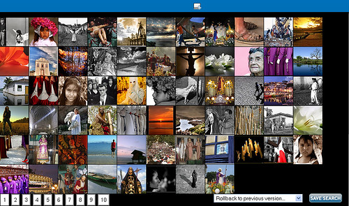 Semana Santa: captura de la primera página de resultados de Flickrcash. Pincha la imagen para llegar a la aplicación