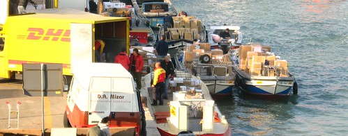 Morning cargo rush in Venice, Italy