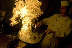 cooking photo: chef with something on fire