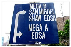 Directional sign going to Megamall