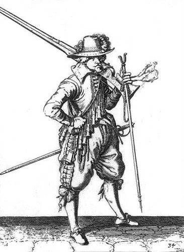 A contemporary illustration of a musketeer from the period of the wreck. Note the rest and smouldering match in his left hand.