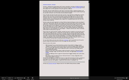 Scrivener - Fullscreen mode