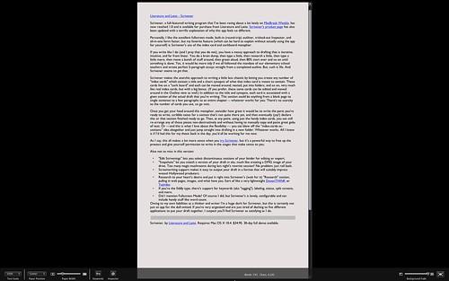 Scrivener - Fullscreen mode