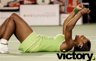 Serena Williams celebrates victory at the Australian Open 2007