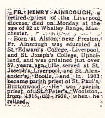 Fr. Henry Ainscough death notice 1864-1946