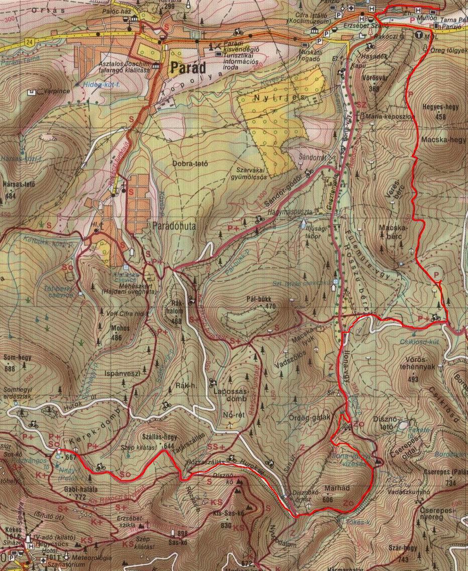 Pisztrángos - Parádfürdő futás térképe