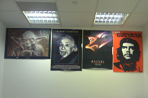 His office wall looks like this: Boss's office wall
