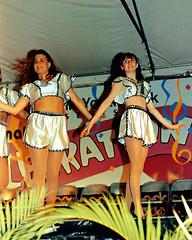 Two Dancers, 1992 (StevenM_61) Tags: girls youth dance dancing stage performance 1992 1990s teenagegirls teengirls flashlighting