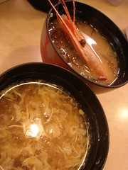 miso soup of prawn and shark yuchi