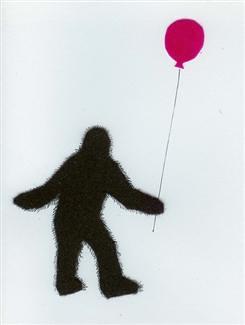 Sasquatch holding a balloon