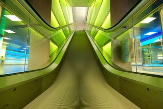 green escalator, blue and a red K