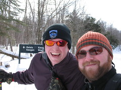 Twig and I x-c skiing in the GAT