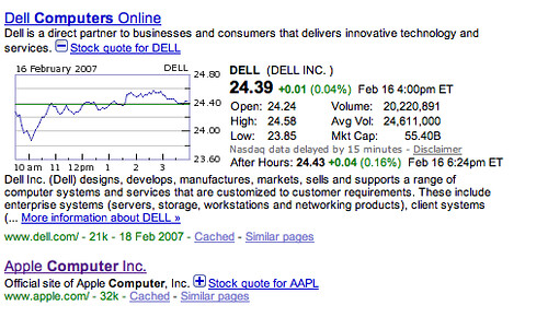 Google Finance at Google.com