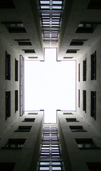 Sniper Street courtyard ([ Petri ]) Tags: windows light abstract architecture finland helsinki backyard geometry 1on1 tarkkampujankatu sispiha