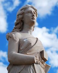 This Does Not Slow Me Down (taylorkoa22) Tags: blue sky woman church cemetery statue stone lady clouds religious nikon pretty catholic god spirit religion jesus granite armless mtcalvary marcgutierrez d80