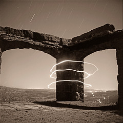 Light Painting, Knapp's Castle (Toby Keller / Burnblue) Tags: longexposure toby blackandwhite bw lightpainting tlr film santabarbara night square keller fuji led lubitel headlamp santaynez acros tobykeller knappscastle burnblue filmsnotdead