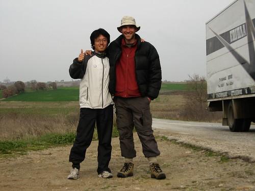 Hideyuki (cycling from Portugal to Japan), met near Sapai, Greece