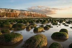 Green Rocks - Red Cliffs (. Andrew Dunn .) Tags: uk england cloud seascape seaweed beach water reflections landscape seaside sand bravo rocks britain norfolk cliffs goldenhour eastanglia hunstanton northnorfolk interestingness48 i500 cy2 challengeyouwinner superaplus aplusphoto superbmasterpiece