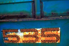 Five Three Five (Mr. Greenjeans) Tags: blue orange abstract green catchycolors rust farmmachinery mrgreenjeans gaylon canonef28135mmf3556isusm gaylonkeeling