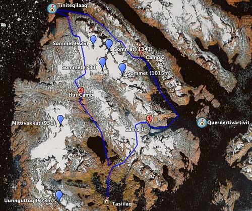 Groenland 2007 - Carte Google Earth du trajet projeté