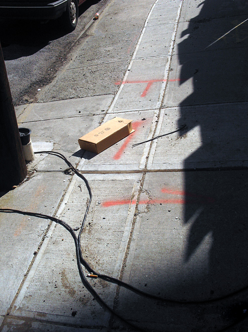 cardboard box on Brooklyn sidewalk