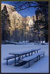 Alone (Thi) Tags: yosemitefalls yosemitewinter mercedriver swingingbridge yosemite merced