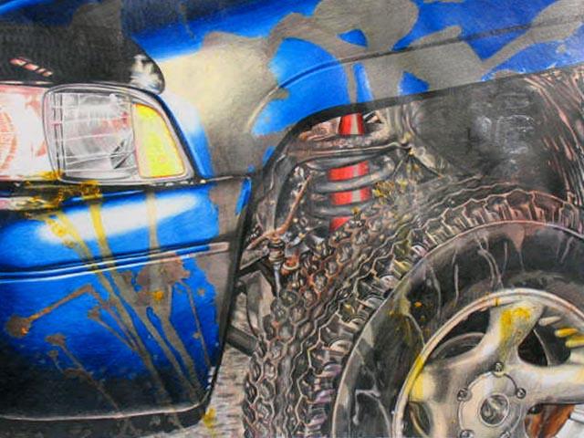 blue color art pencil truck artwork paint bright tire vehicle dodge crayon ram rim splatter graphite coloredpencil dodgeram