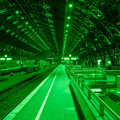 Green station (manganite) Tags: roof light green topf25 colors monochrome night digital germany square geotagged vanishingpoint interestingness nikon colorful europe tl tracks cologne railway kln explore trainstation onecolor lamps d200 parallax nikkor dslr northrhinewestphalia 500x500 thecolorgreen interestingness26 i500 18200mmf3556 utatafeature manganite nikonstunninggallery 25faves ipernity superaplus aplusphoto shininggreen geo:lat=5094292 geo:lon=6959153 date:year=2007 date:month=january date:day=29 format:orientation=square format:ratio=11