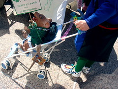 St. Patrick's Day stroller (Ann Althouse) Tags: green wisconsin stroller parade madison stpatricksday