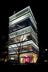 Dior building by night in Omotesando Tokyo, Japan (Mar 2007) (Cor Lems) Tags: city light building fashion japan architecture night tokyo design march asia landmark architect trendy nippon metropolis japon dior omotesando 2007 nishizawa sejima kazuyo christiandior ryue canoneos500d