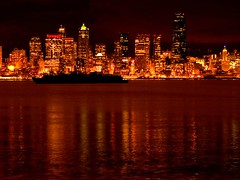 Seattle Nightscape (Lloyd K. Barnes Photography) Tags: seattle city night reflections washington cityscape pacificnorthwest zd 40150mm beautyisintheeyeofthebeholder lloydbarnes lloydkbarnes
