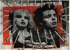 Sid and Nancy (Luis Drayton) Tags: red blackandwhite art collage punk icons mixedmedia popart montage syringe photomontage punkrock foundobjects sidvicious nancyspungen