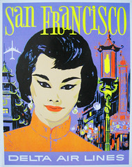 Colorful Chinatown (Telstar Logistics) Tags: sanfrancisco chinatown postcard delta ephemera airline airlines deltaairlines