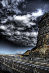Sea Cliff Bridge HDR 2 (alexkess) Tags: bridge sea sky cliff cloud clouds photoshop nikon raw skies conversion bridges australia file single nsw shield d200 hdr wollongong lightroom excellence illawarra photomatix coalcliff