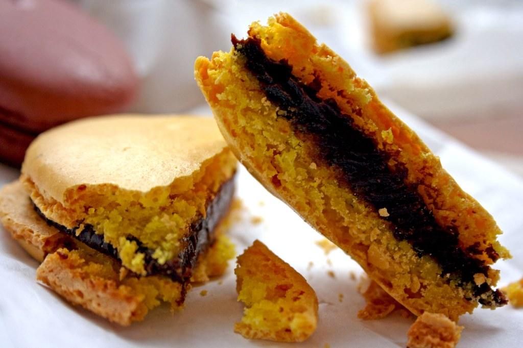 Chocolate Almond Macaron innards