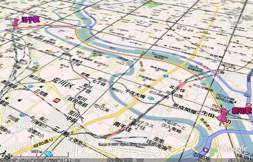 2007.04.04 王子駅〜堀切駅地図俯瞰