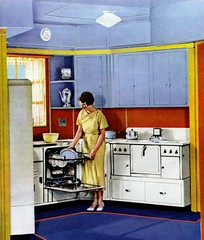 print of a woman putting dishes in a dishwasher in a 1937 kitchen