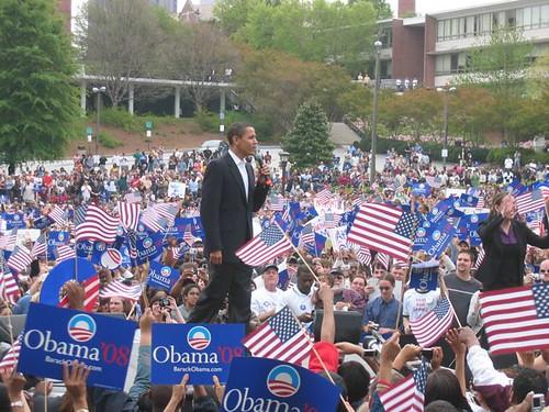 Barack Obama takes the stage