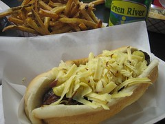 lunch at Hot Doug's (Andrew Huff) Tags: food dog chicago hot lunch hotdog foodporn fries hotdougs