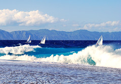 boats on waves (esther**) Tags: ocean blue sea sun white seascape beach nature water clouds landscape boats bravo mediterranean waves sailing wind turquoise interestingness1 greece topf150 topf100 rhodes interestingness3 interestingness12 magicdonkey anawesomeshot