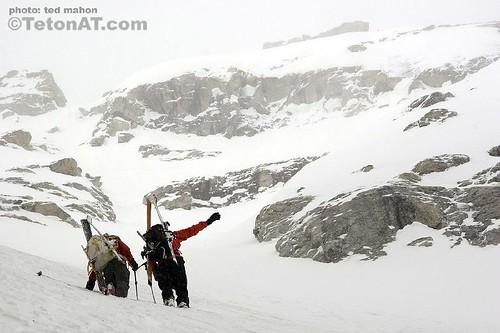 Neil and Chris discuss the Grand Teton while climbing the Middle Teton