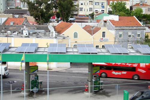 Solar panels on gas station canopy